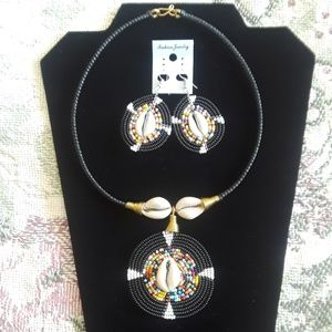 Jewelry - Handmade African Necklace Choker & Earring Set